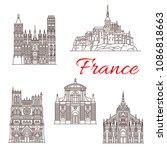 france famous travel landmark... | Shutterstock .eps vector #1086818663