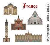 france famous travel landmark... | Shutterstock .eps vector #1086818693