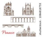 france famous landmark... | Shutterstock .eps vector #1086818753