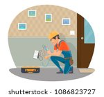 electrician at work repairing... | Shutterstock .eps vector #1086823727