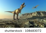 Giant dinosaur in the background of the  sky. - stock photo