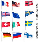 set of twelve flags on white... | Shutterstock .eps vector #1086859523