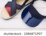 blue sun visor  headdress and... | Shutterstock . vector #1086871907