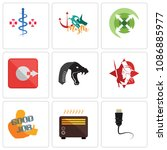 set of 9 simple editable icons...   Shutterstock .eps vector #1086885977