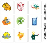 set of 9 simple editable icons...   Shutterstock .eps vector #1086885983