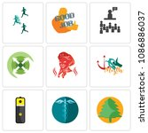 set of 9 simple editable icons...   Shutterstock .eps vector #1086886037