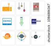 set of 9 simple editable icons... | Shutterstock .eps vector #1086886367