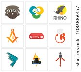 set of 9 simple editable icons... | Shutterstock .eps vector #1086886457