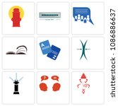 set of 9 simple editable icons...   Shutterstock .eps vector #1086886637