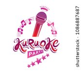 karaoke party invitation poster ... | Shutterstock .eps vector #1086887687