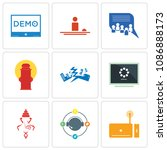 set of 9 simple editable icons... | Shutterstock .eps vector #1086888173