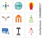 set of 9 simple editable icons... | Shutterstock .eps vector #1086888317