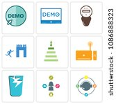 set of 9 simple editable icons... | Shutterstock .eps vector #1086888323