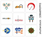 set of 9 simple editable icons...   Shutterstock .eps vector #1086890993
