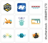 set of 9 simple editable icons... | Shutterstock .eps vector #1086891173