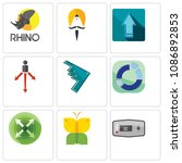 set of 9 simple editable icons...   Shutterstock .eps vector #1086892853