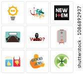 set of 9 simple editable icons...   Shutterstock .eps vector #1086892937
