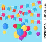 banner with garland of colour... | Shutterstock .eps vector #1086903953