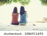 summer time  portrait of two... | Shutterstock . vector #1086911693