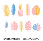 tropic leaves and pineapple.... | Shutterstock .eps vector #1086929897