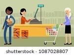 cash desk in a supermarket and... | Shutterstock .eps vector #1087028807