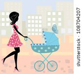 woman with a stroller | Shutterstock .eps vector #108704207