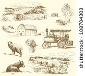 agriculture,animal,background,barn,bio,biological,bird,cartoon,country,countryside,cow,dog,dove,drawing,eco