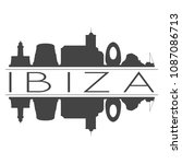 ibiza spain skyline vector art...   Shutterstock .eps vector #1087086713