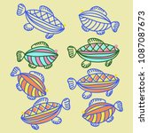 fishes pattern   stylized ... | Shutterstock . vector #1087087673