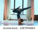 yoga balance girl   yoga coach... | Shutterstock . vector #1087096883