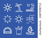 summer related set of 9 icons... | Shutterstock .eps vector #1087098713