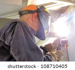 Construction welding - stock photo