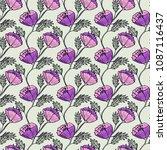 hand drawn ink flowers seamless ... | Shutterstock . vector #1087116437