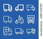lorry related set of 9 icons...   Shutterstock .eps vector #1087120787