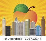 Atlanta Georgia City Skyline  with Sun Rays and Peach Fruit in Background Illustration