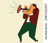 trumpeter plays trumpet music  | Shutterstock .eps vector #1087133207
