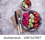 healthy salad with cucumber ... | Shutterstock . vector #1087167857