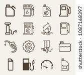 set of 16 gasoline outline... | Shutterstock .eps vector #1087168397