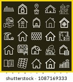 set of 25 house outline icons... | Shutterstock .eps vector #1087169333