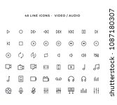 set of video and audio vector... | Shutterstock .eps vector #1087180307