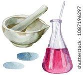 beakers clinic pharmacy set....   Shutterstock . vector #1087196297