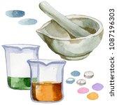 beakers clinic pharmacy set....   Shutterstock . vector #1087196303