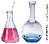 beakers clinic pharmacy set....   Shutterstock . vector #1087196507