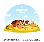 farm animals at paddock with... | Shutterstock .eps vector #1087202057