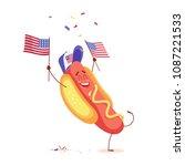 funny cartoon hot dog holding... | Shutterstock .eps vector #1087221533