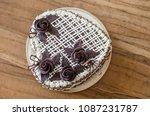 homemade dark sponge cake with...   Shutterstock . vector #1087231787
