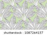 palm leaves pattern. banana... | Shutterstock .eps vector #1087264157