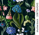 seamless pattern with wild... | Shutterstock .eps vector #1087264343