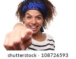 beautiful woman pointing | Shutterstock . vector #108726593