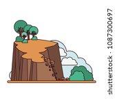 landslide disaster scene icon   Shutterstock .eps vector #1087300697
